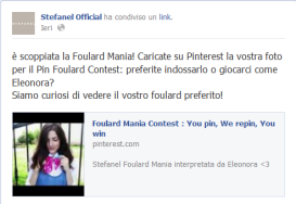 Stefanel contest Facebook