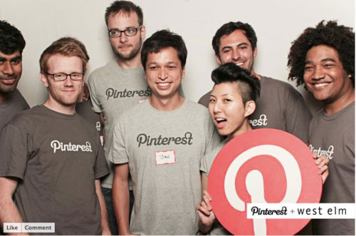 Lo staff di Pinterest: i fondatori Ben Silbermann e Evan Sharp sono i due al centro.